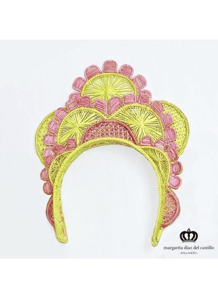 Margarita Diaz del Castillo Cayena Crown Pink & Yellow - 100% Iraca