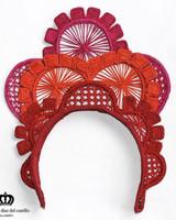 Margarita Diaz del Castillo Cayena Crown Red & Orange - 100% Iraca