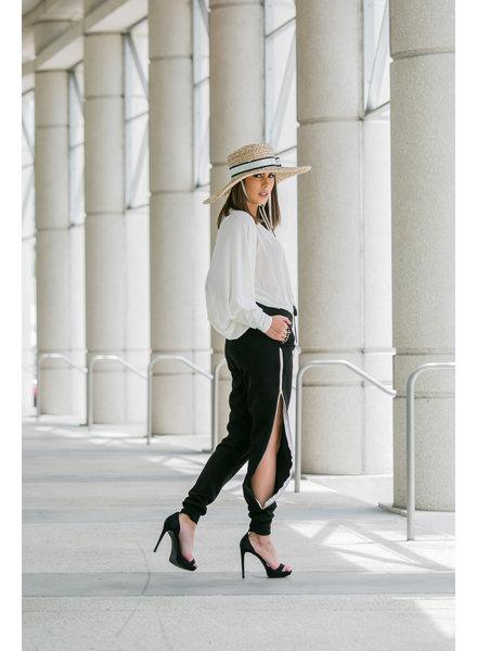 La Tucha Carmen Black Pants with Side Zippers - Small
