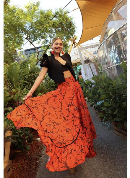Mar A Mar Asymmetric Butterfly Print Skirt