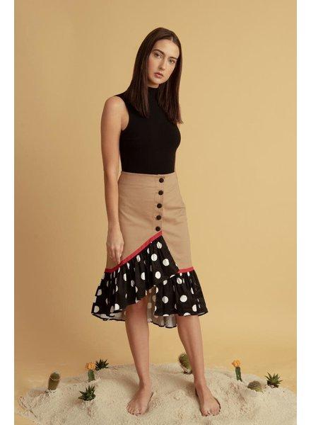 La ValentinA Matilda Brown Skirt with B&W Polka Dots