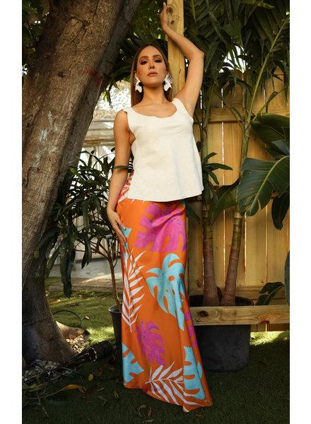 Zuly Niño Tropical Print Maxi Skirt