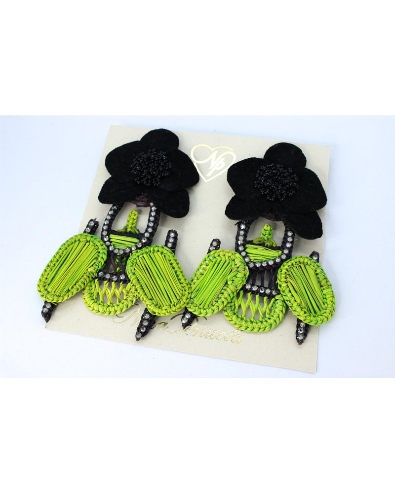 Nina Peñuela Black Orchid and Green Scarab Earrings, Iraca Woven with Leather and Crystals