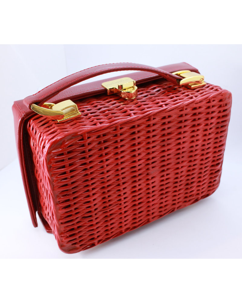 Jessi Caballero Box Bag Rattan/Leather/Velvet Red