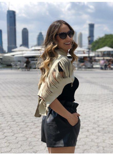 Andrea Landa VEST - Short Cut Leather Mini  Beige - One Size