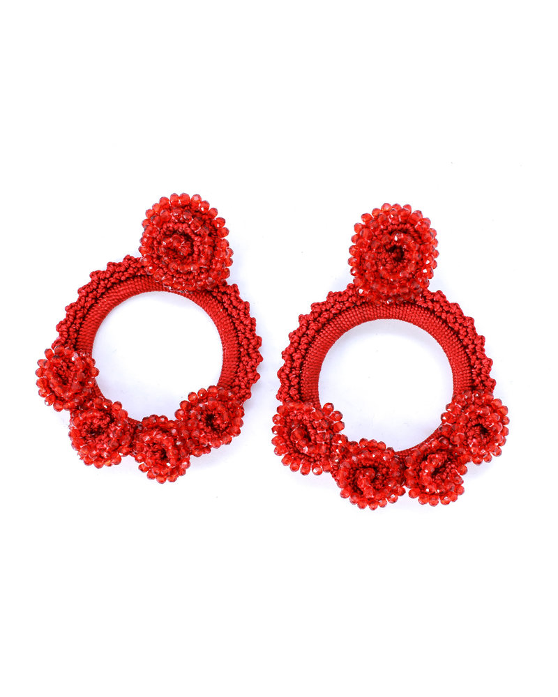 Tantra Mariabella Beaded Iraca Woven Earrings