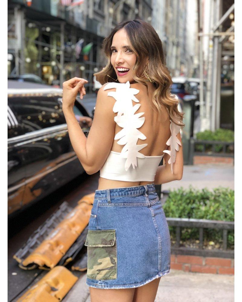 Denim Skirt with Camo Pockets