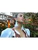 Nina Peñuela Heron Earrings, Leather, Feathers and Crystals