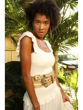 La Tucha BELT - Gabiela Beige Leather with Gold - Size S|M