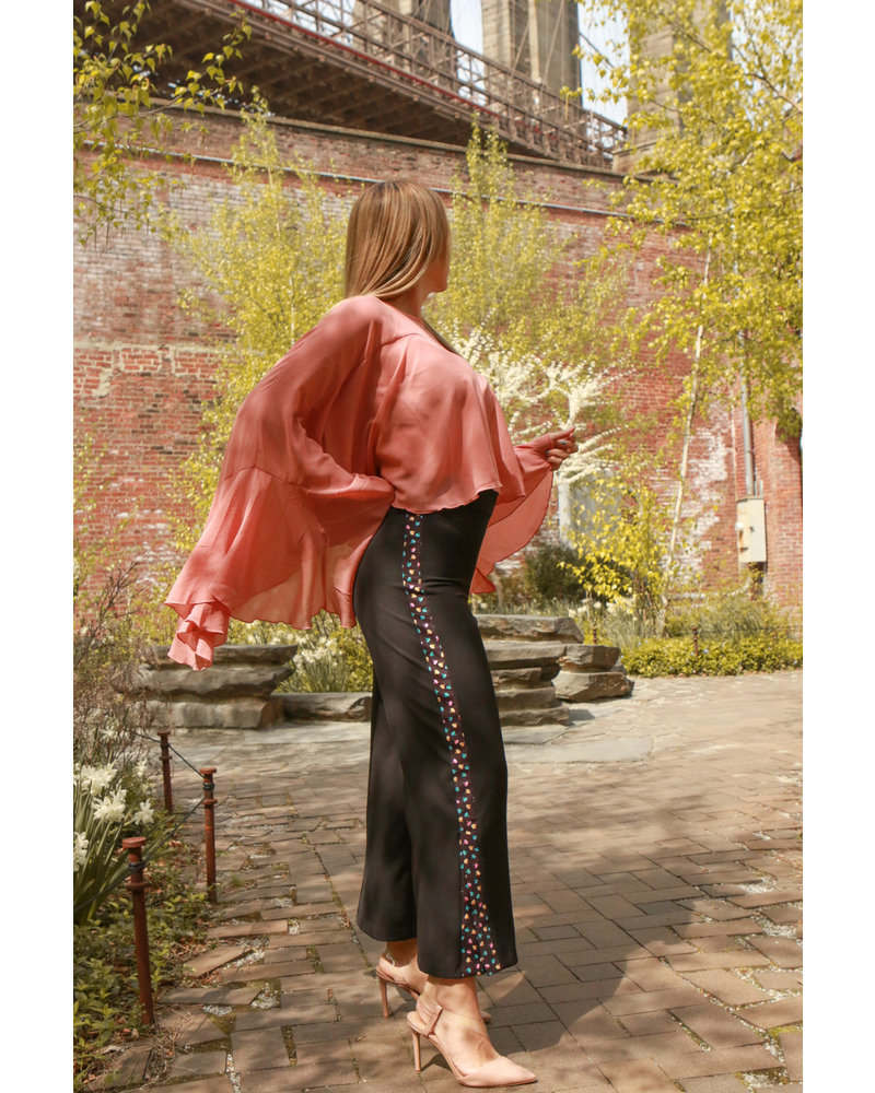 Mindy Black Pant with Flowers - Size M