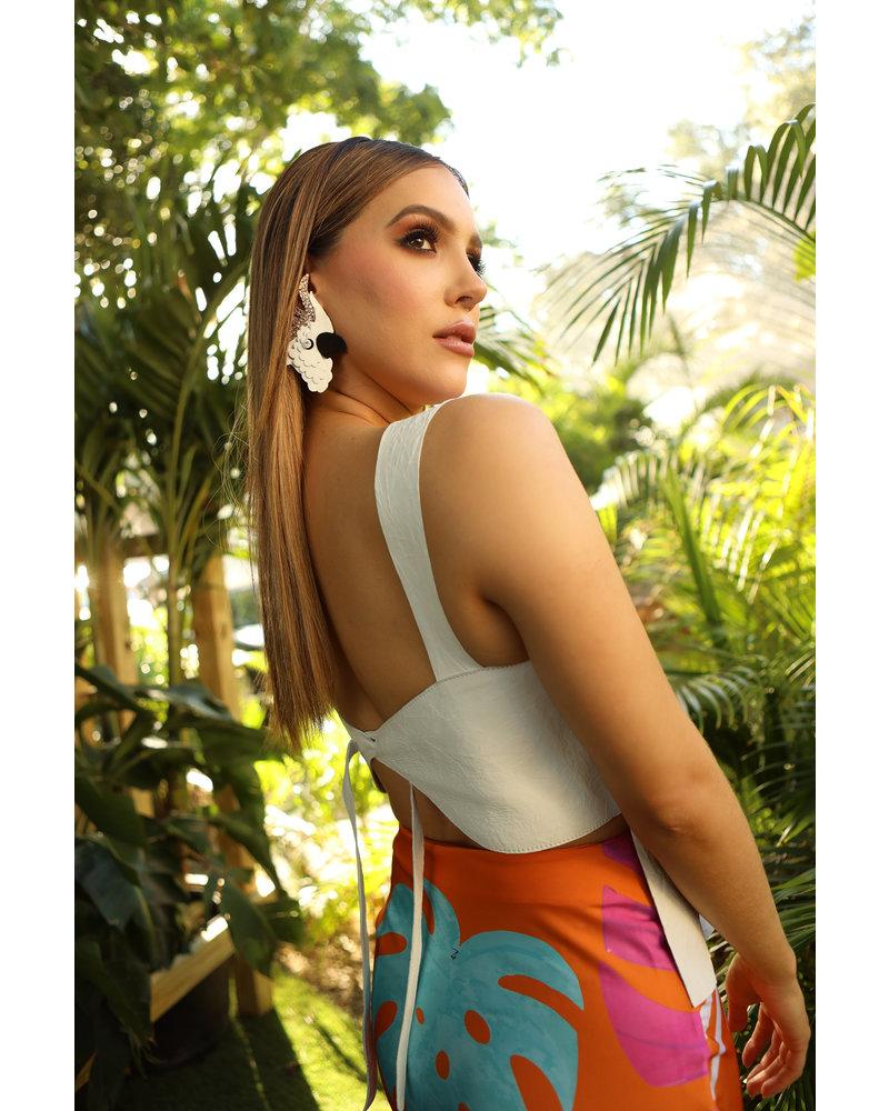 Andrea Landa T-SHIRT - Tsi Tao White Leather - Size M