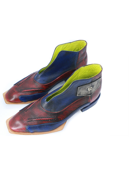 Misha Shoes Camaro Blue & Red Leather Boots 7