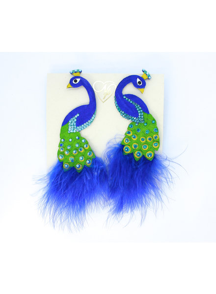 Nina Peñuela Peacock Earrings, Leather, Feathers and Crystals