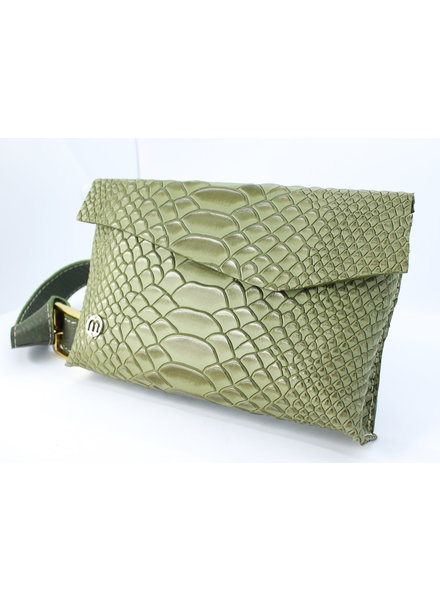 Misha Shoes Luciana Green Leather Belt Bag