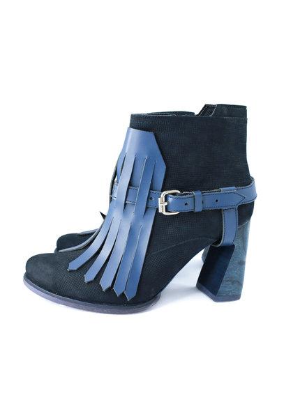 Pau Blue Fringe Leather Boots - Size 37