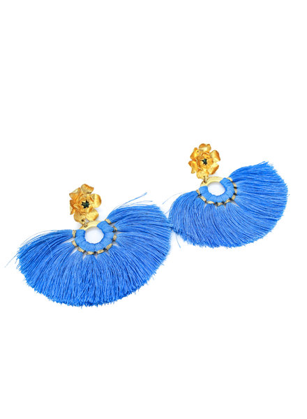 Magnolia Fringe Earrings with emerals - Blue