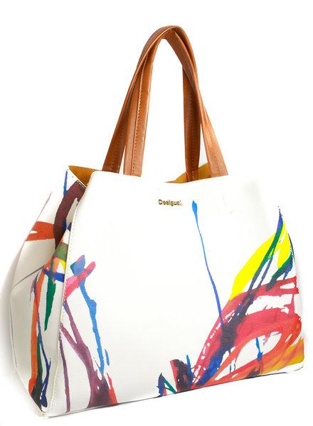 Lia Beige Handbag With Splashes Of Color