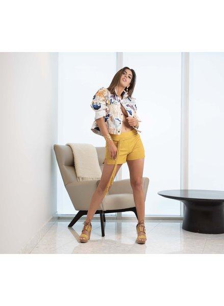 Andrea Landa Hashiru Yellow Leather Short with belt - Size 2