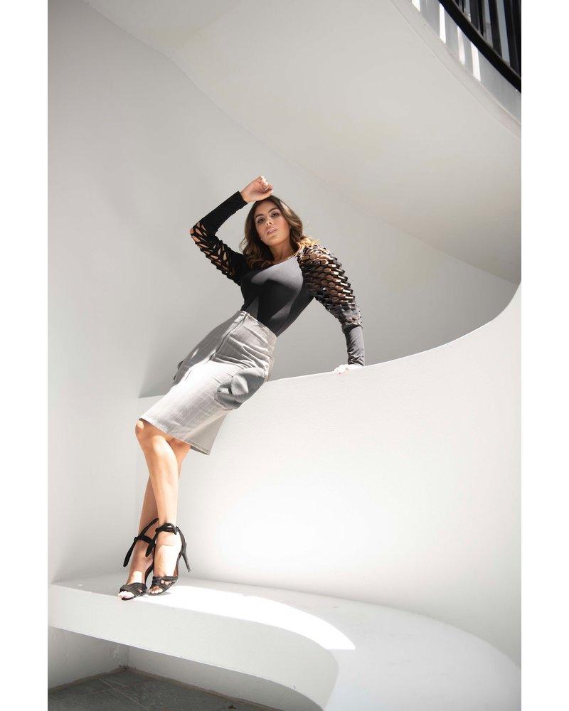 Bendita Seas SKIRT - Pasadena Knee Length Grey - Size 8