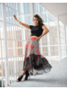 SET - Long Flower Skirt with Black and White Lines (Two-Piece)