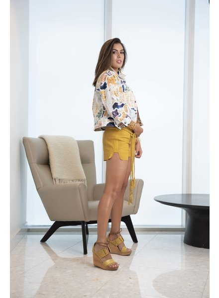 Andrea Landa SHORT - Hashiru Yellow Leather with belt - Size S