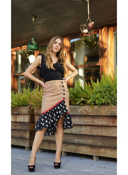 La ValentinA SKIRT - Matilda Brown with White  Polka Dots - Size S
