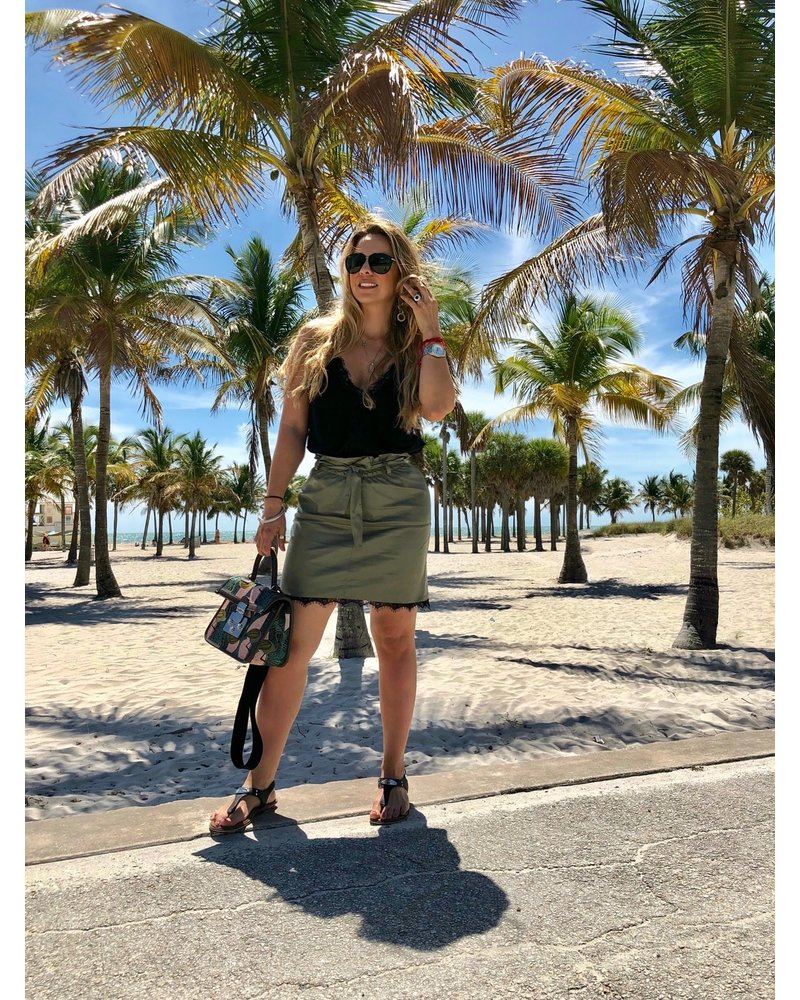 Olive Synthetic Leather Skirt with Leather Tie Belt