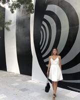 DRESS - Amy Short White V-Neck with Front Folds - Size L