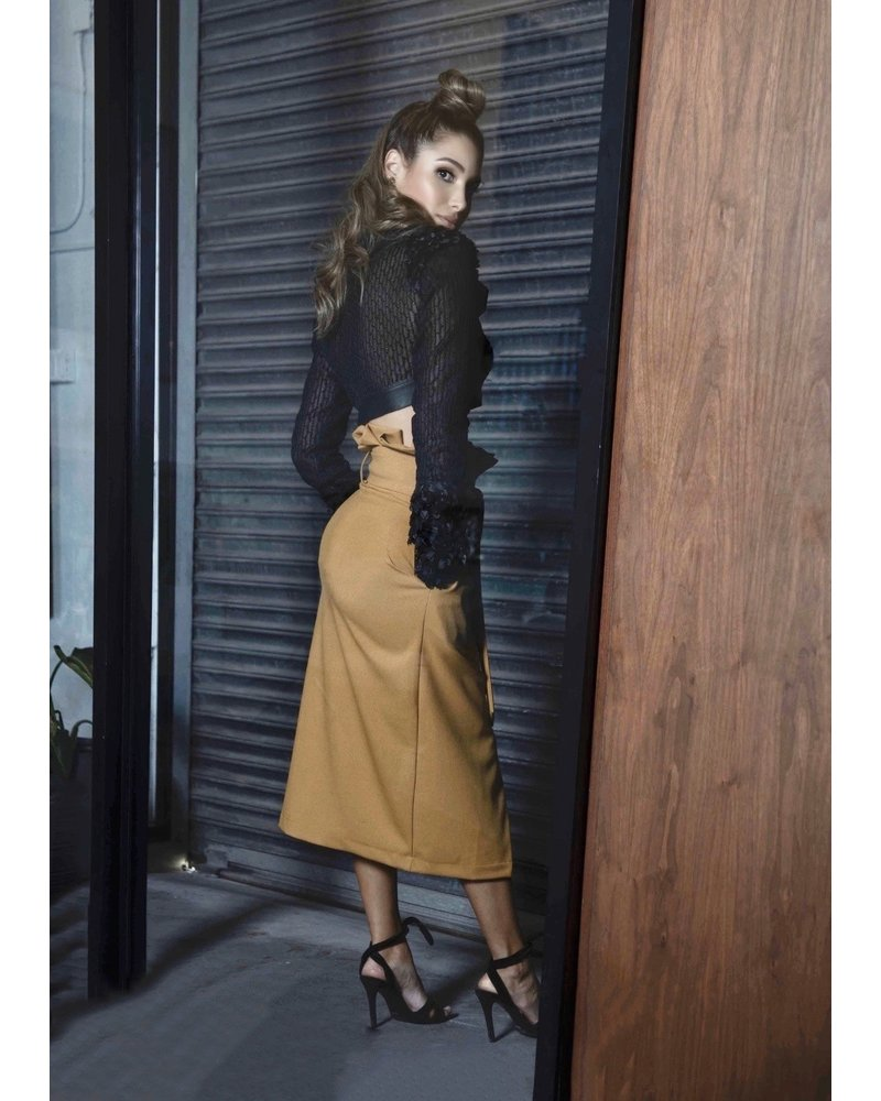 PADOVA SKIRT - Mustard wrapped with buttons 10