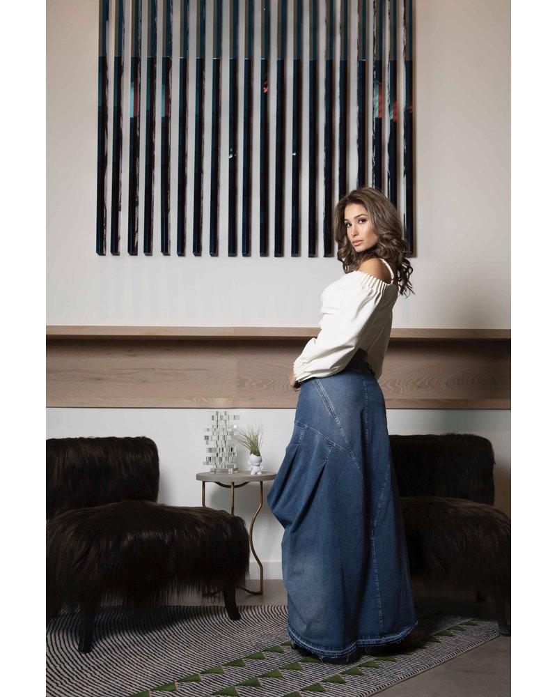 SKIRT - Long blue jean 6