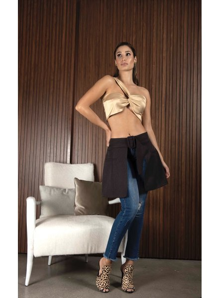 PADOVA OVERSKIRT - Brown short tailored with belt 10