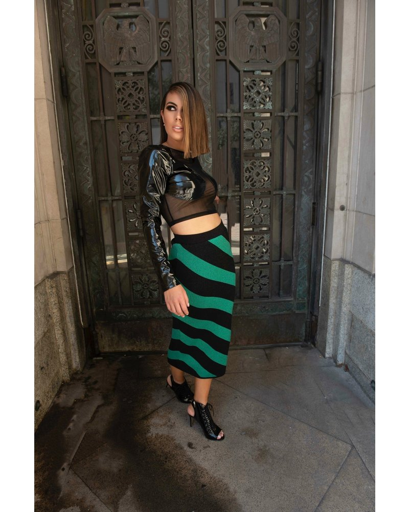 Iorane SKIRT - Long Striped Green & Black - Size S