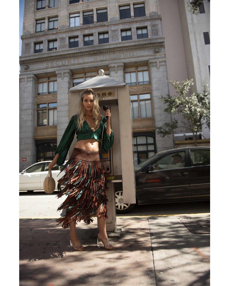 Palma Canaria SKIRT - Paloma Hadmade Macrame Brown with Green - Size M/L