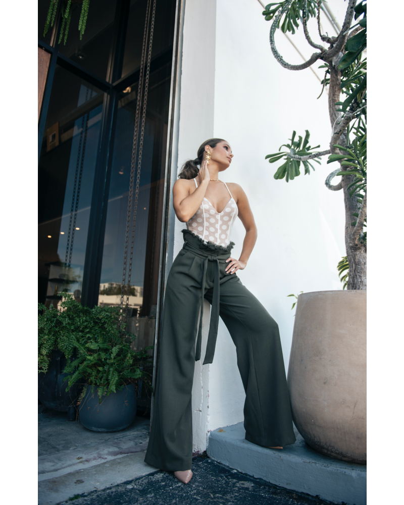 Emerging Designers BODYSUIT - Lina White & Nude Polka Dot