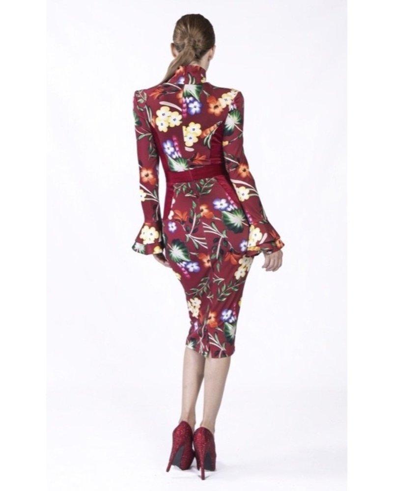 Nuvula DRESS - Sacha  Wine Long Sleeve - Size S