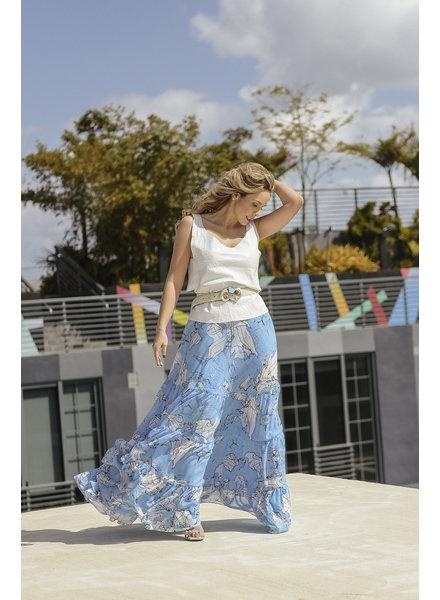 Carolina Estefan SKIRT - Blue Abstract Map Print Size S