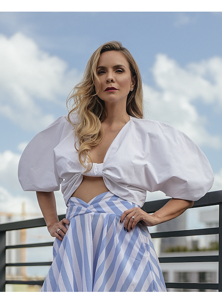 PADOVA CROP TOP - White top with Puffed Sleeves