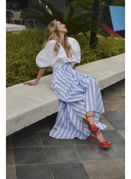 PADOVA SKIRT - Maxi Blue & White Striped Size 6