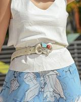 Leather Belt Bone with Ram Size S-M