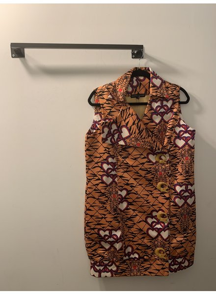 Shantall Lacayo VEST - Tiger Sleeveless Collar Coat with Buttons - Size L