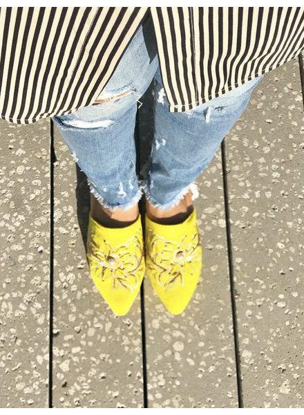 Vida Leather SHOES - Talia Yellow Embellished Mules  Size 7