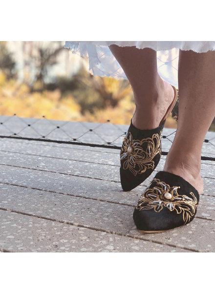 Vida Leather SHOES - Talia Black Embellished Mules  Size 8