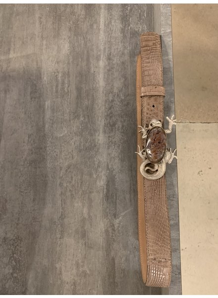 BELT - Leather, Brown with Lizard Size S|M