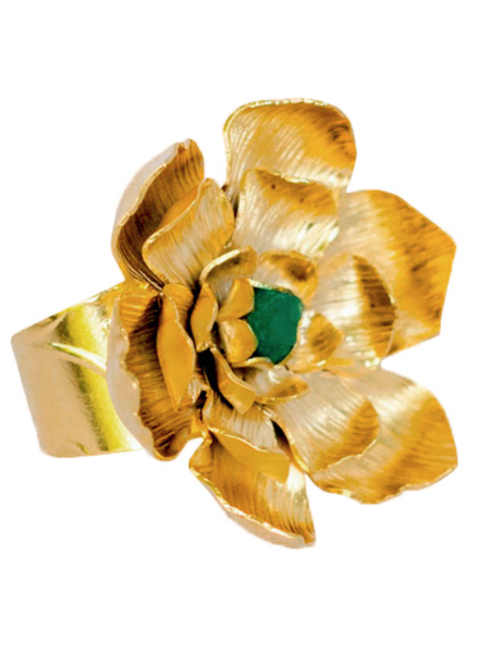 Tantra RING - Lotto Flower with Emerald Gold