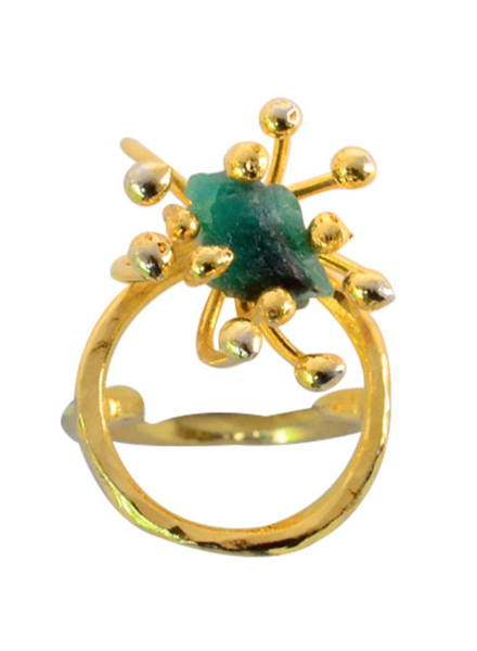 Tantra RING - Double Pistilo Circle with Small Emerald Gold