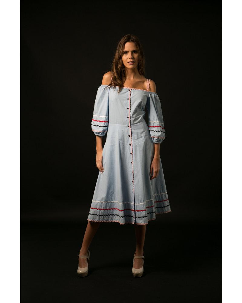 Emerging Designers DRESS - Inez Midi Sky Blue  - Size|36