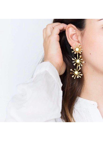 Crisobela Sunshine Trio Gold Plated Earrings