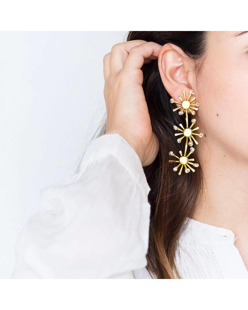 Crisobela Sunshine Trio Gold Plated Earrings