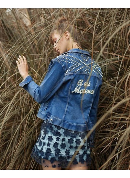 "Amodo Mio ""A MI MANERA "" Denim Jacket with Pearls - Size L"