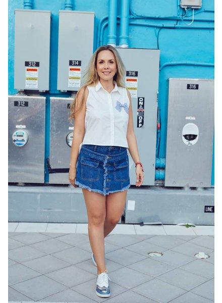 Emerging Designers BLOUSE - Mercedez Blue Bow White
